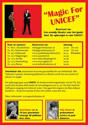 Goochelaar Jan flyer Magic for Unicef